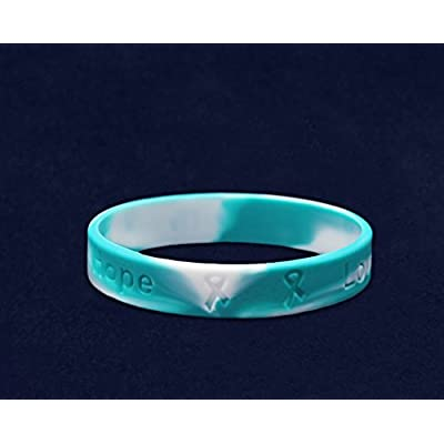 Fundraising For A Cause Teal & White Silicone Bracelet - Adult Size: Toys & Games