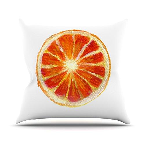 16 by 16 Kess InHouse Theresa Giolzetti Grapefruit Throw Pillow White Orange