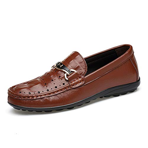 casual Brown per Leggero Wider Wave Mocassini 43 Slip EU Dimensione Scarpe Color Ofgcfbvxd Sole Fitting Flat Driving Bianca Texure Crocodile Hollow Loafer Skin On Scarpe uomo Heel H45dxwA