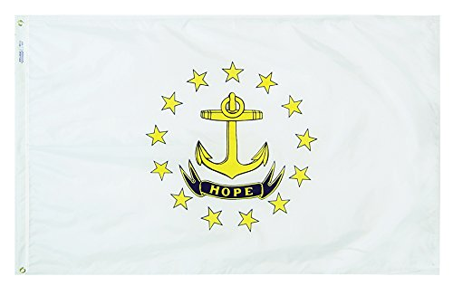 Annin Flagmakers Model 144750 Rhode Island State Flag Nylon SolarGuard NYL-Glo, 2x3 ft, 100% Made in USA to Official Design Specifications