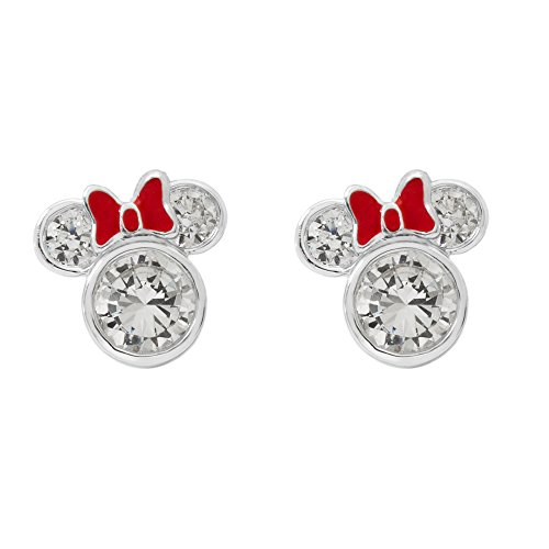 Disney Minnie Mouse Women and Girls Jewelry, Sterling Silver Cubic Zirconia and Red Enamel Bow Detail Stud Earrings Mickey's 90th Birthday Anniversary