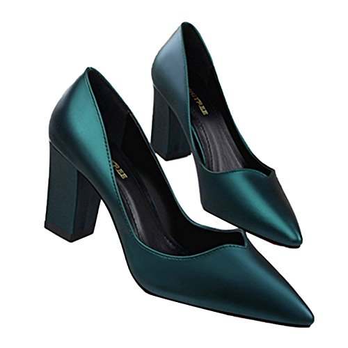 Owen Moll Women Pumps, Concise Square Heel Leather High Heels Pointed Toe Sandal Shoes