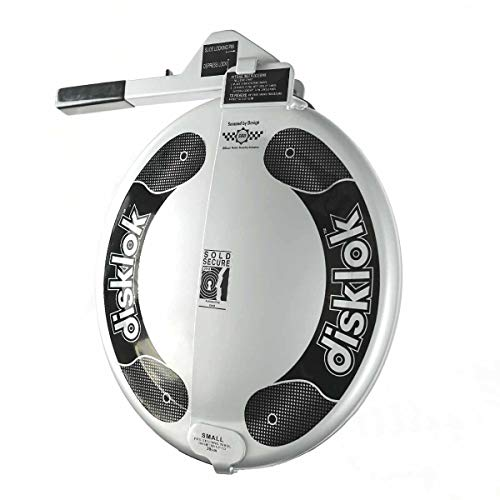 Disklok Steering Wheel Full Cover Silver Security Lock Police Approved (Silver, Small, 35cm – 39cm)