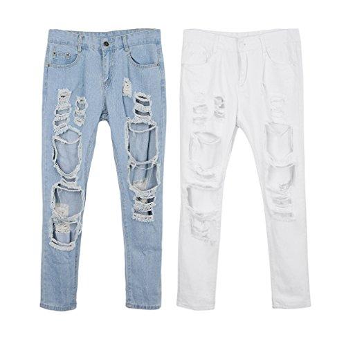 Strappati A Bianca Magideal Jeans Strappato Vita Donna Per Alta Buco Con RfRIqw5