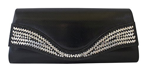 Chicastic Shiny Patent Leather Evening Wedding Clutch With Rhinestones - Black by Chicastic