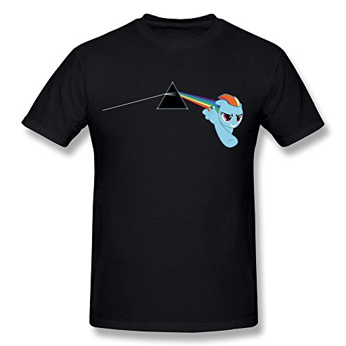 TIKE Men's Pink Floyd Dark Side Of Rainbow Dash Tee Shirts Color Black Size XL -