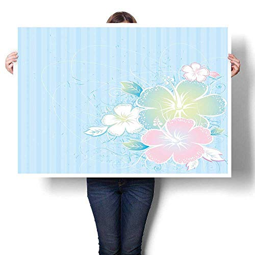 J Chief Sky Flower Wall hangings Bouquet of Hibiscus Flowers on Vertical Lined Background Soft Colored Print Home Decor Pale Blue Pale Pink 24