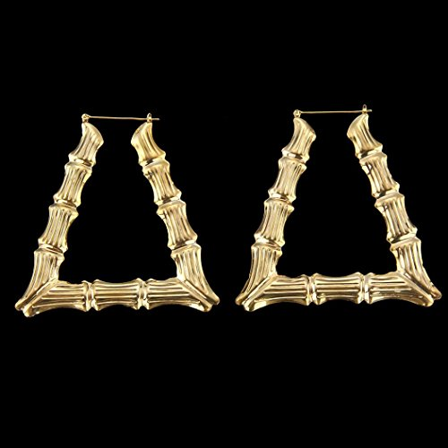 DZT1968 Women 9cm elegant Large Bamboo Earrings Hip-Hop Gold Hoops Bling Circle (Design Large Hoop)