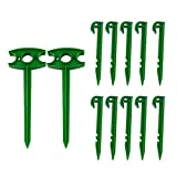 "Amgate Garden Stakes Anchoring Spikes Sturdy Plastic Stakes Pin for Hold-Down Landscape Fabric, Insect & Shade Nets (10 Pcs 6"" + 2 Pcs 10"")"