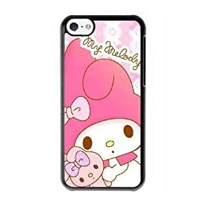 Grouden R Create and Design Phone Case,My Melody Cell Phone Case for iPhone 5C Black + Tempered Glass Screen Protector (Free) GHL-2971204
