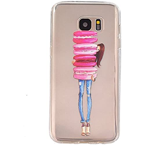 Gravydeals S7 Edge Transparent Soft Case,Ultra Thin [Slim Fit] Lovely Relief Macarons Girl Print Clear TPU Protective Case Cover Skin for Samsung Galaxy S7 Edge Sales