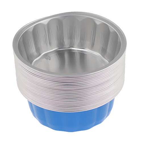 Fityle Round Tin Foil Pans - Disposable Aluminum Foil Pans - Ideal for Pies, Cakes, Meats, Cupcake, Puddings, Cheese Cake, Muffin, Fruit Pie - Blue