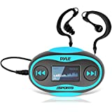 Pyle PSWP25BL 4GB Waterproof MP3 Player/FM Radio with Waterproof Headphones (Blue)