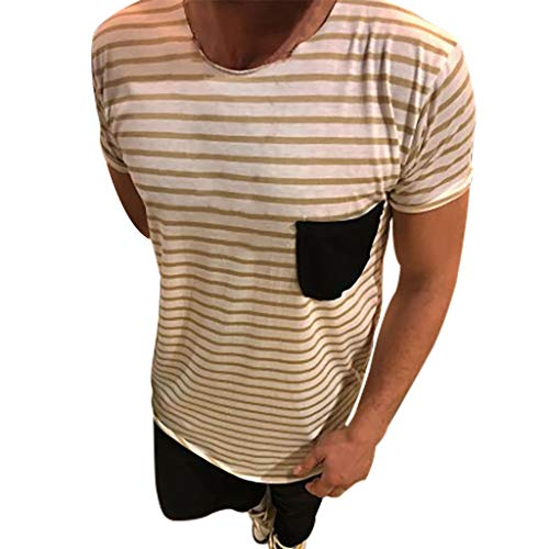 RAINED-Mens Basic Striped T-Shirt Crew Neck Cotton Tees Casual Summer Beach Slim Fit Top Tee Workwear Pocket White