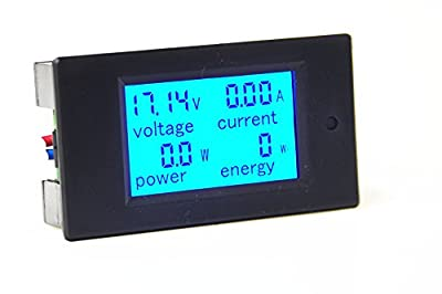 KNACRO DC 6.5-100V 20A Voltage Amperage Power Energy Meter DC Volt Amp Tester Gauge Monitor LCD Digital Display with Blue Backlight Measuring Volts Current with Built-in Shunt