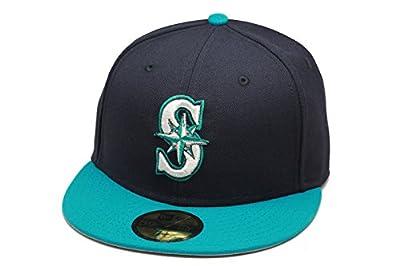 New Era Seattle Mariners Baseball Fitted Hat Cap MLB Navy/Turquoise/Grey Bottom