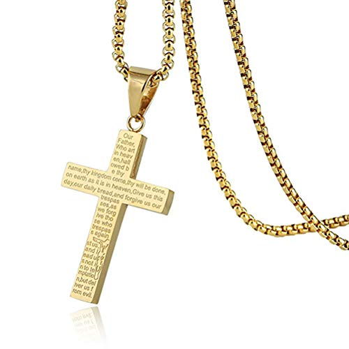 HZMAN Mens Carved Jesus Christ Cross Lord's Prayer Stainless Steel Pendant Necklace (Gold 1)