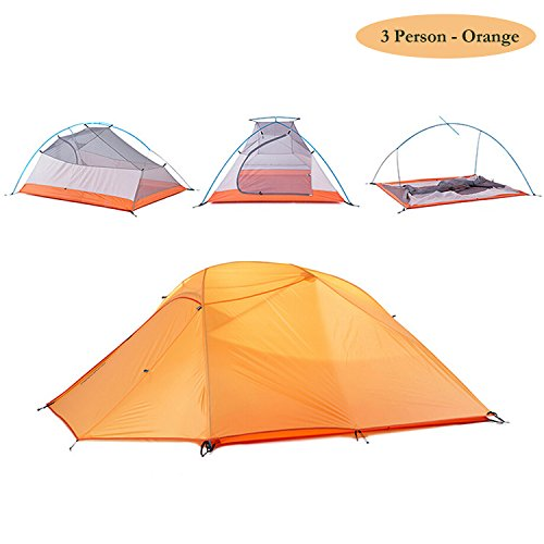 Weanas 2-3 Person 4 Seasons Double Layer Backpacking Tent, Ultralight Aluminum Rod Anti-UV Windproof Waterproof, Free Offer a Groundsheet, for Camping, Hiking, Travel, Hunting (Orange, 2-3 Person)
