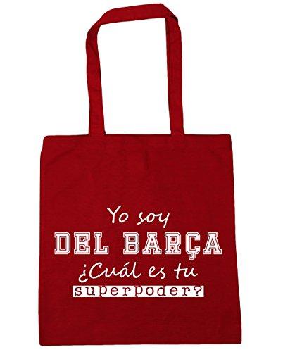 HippoWarehouse Soy del Barça, ¿Cuál es tu Superpoder? Bolso de Playa Bolsa Compra Con Asas para gimnasio 42cm x 38cm 10 litros capacidad Rojo