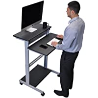 32 Mobile Ergonomic Stand up Desk Computer Workstation (Black Shelves with Silver Frame)