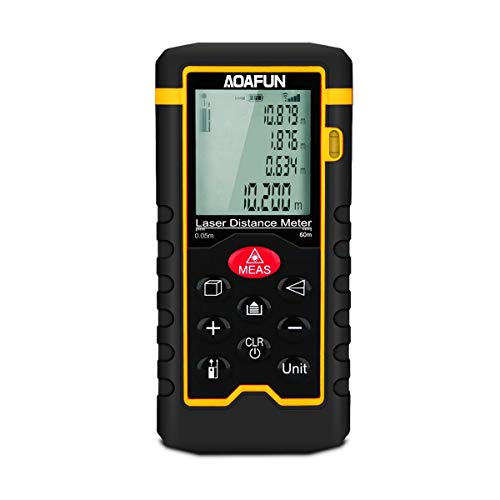 Aoafun 60m Laser Measure 196 Ft M/In/Ft Mute Laser Distance Meter,Backlit LCD and Pythagorean Mode, Measure Distance, Area and Volume - (Carry Pouch and Battery Included) by Aoafun