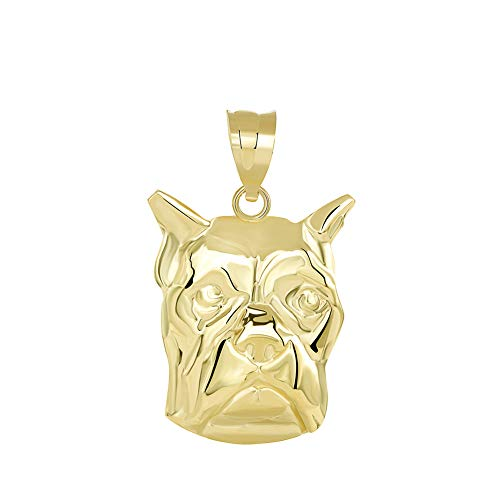 Solid 14k Yellow Gold Boxer Dog Head Face Charm Pendant ()
