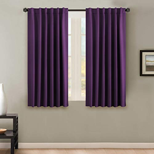 - H.VERSAILTEX 100% Blackout Curtains for Bedroom Thermal Insulating Window Curtains Panels Drapes for Living Room, Back Tab/Rod Pocket Window Draperies - 2 Panels Set - 52x63 Inch - Solid Plum Purple