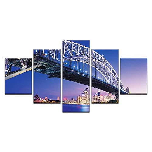 Fbhfbh Wall Art Canvas Prints 5 Panel Spray Painting Sydney Harbour Bridge Picture Wall Paintings Bedroom Home Decor Unframed -12x16/24/32inch,with Frame