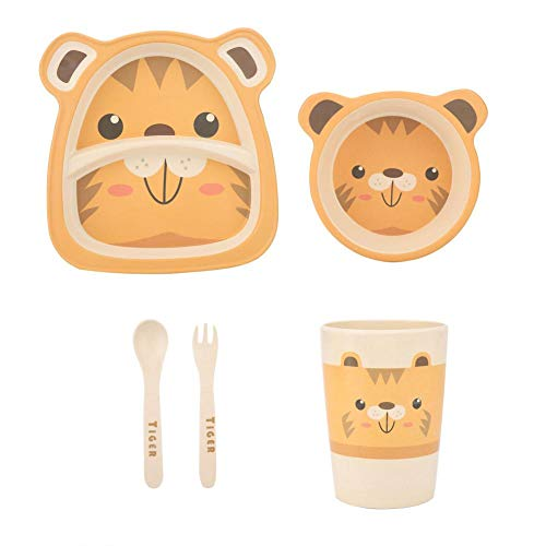 Children Tableware Set Cartoon Eco-friendly Bamboo Fiber Dish Plate Bowl Cup Spoon Fork Kit Baby Kids Toddler Dinnerware(Tiger)