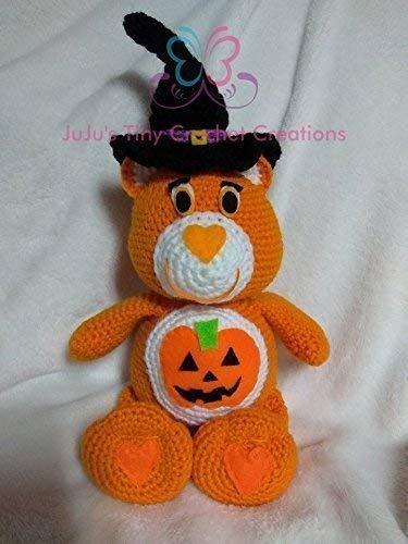 - Crocheted Handmade Care Bear Inspired Halloween Stuffed Animal - Holiday Decoration - Teddy Bear - Witch - Pumpkin
