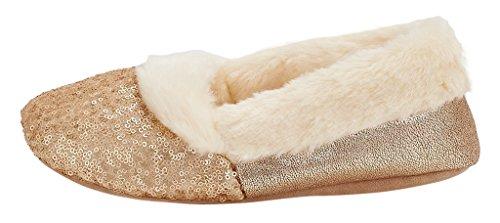 Mixin Mujeres Ballerina Metallic Shine Sequin Zapatillas De Interior Gold