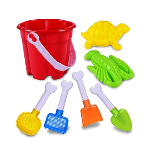 [LandFox Toy,7 Pcs Kids Beach Toys Castle Bucket Spade Shovel Rake Water Tools] (Girls Swimming Costumes Age 13)