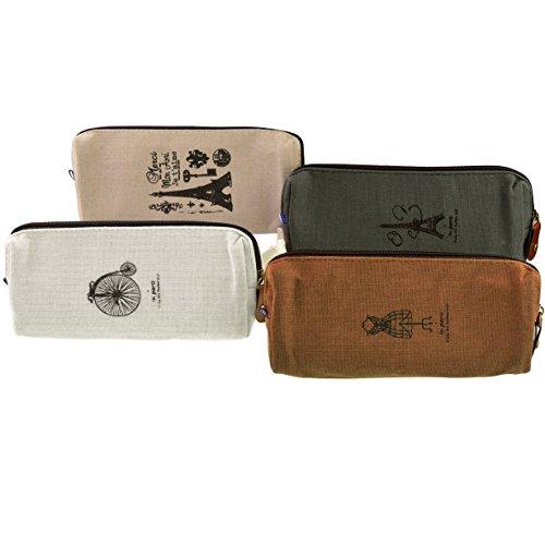Cymax 4 Stück vintage Leinwand Federmäppchen Stiftemappe Stationäre Tasche Bleistift Cases Kosmetiktasche mit Reißverschluss Vintage Patern wnWHoorU