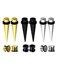BodyJ4You 12PCS Gauges Set Tapers and Plugs Tunnels Surgical Steel Stretcher Ear Stretching Kit