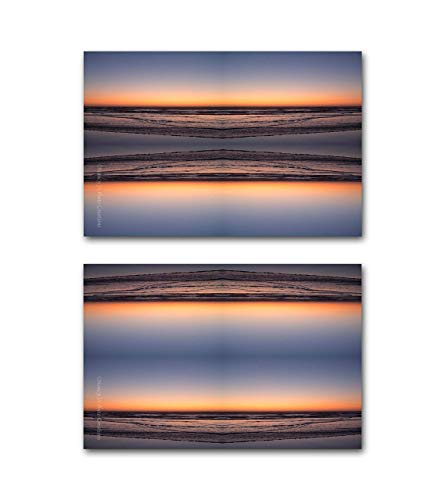 (Minimalist Modern Wall Art Linear Abstract Photography CANVAS Print Set Contemporary Home or Office Decor Sunset Beach Photo 5% Off Diptych Ready to Hang 8x10 8x12 11x14 12x18 16x20 16x24 20x30 24x36 )