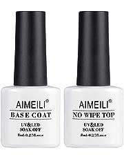 AIMEILI Top Coat en Base Coat Set UV LED Nagellak Gel Nagellak Soak-Off Clear Gloss Nagel Gel Nail Polish Art Manicure 2pcs x 8 ml