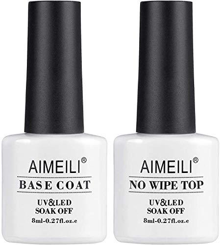 AIMEILI UV LED Gellack Gel Nagellack Base & No Wipe Top Coat Unterlack & Überlack Set Gel Polish 2×8ml