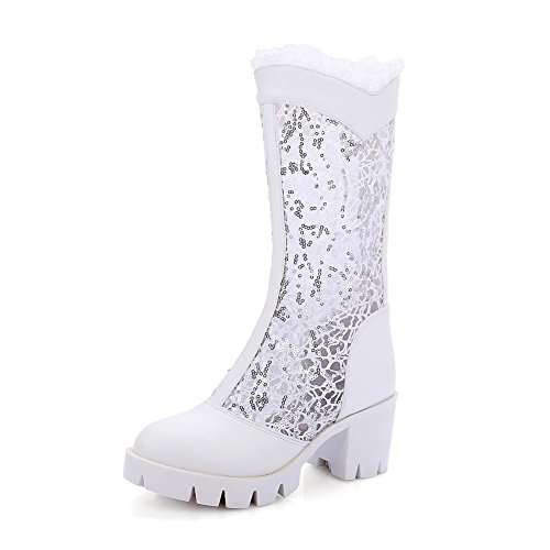 Leather Heels Boots Chunky Lace BalaMasa Imitated Platform Womens White STgxwY
