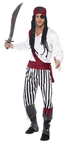 Smiffys Men's Pirate Man Costume, Shirt, pants, Headpiece & Belt, Pirate, Serious Fun, Size L, 25783 ()