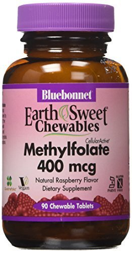 Bluebonnet Earth Sweet Cellular Active Methylfolate 400 mcg Chewable Tablets, 90 Count by Blue (400 Mcg 90 Tablets)