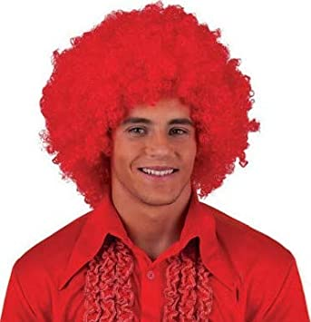 Lote/Conjunto de 6 Piezas - Peluca Afro Chico Gigante roja