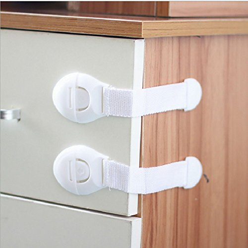 (Tuscom Baby Safety Locks | Child Proof Cabinets, Drawers, Appliances, Toilet Seat, Fridge and Oven | Tools Not Required | Uses 3M Adhesive with Adjustable Strap and Latch System (2Pack) (White) )