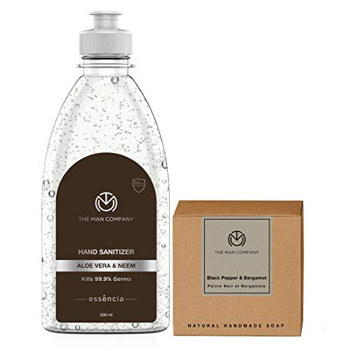 The Man Company Hand in hand set (Aloe Vera & Neem Hand Sanitizer with 70% alcohol (500 ml) and Black Pepper & Bergamot…