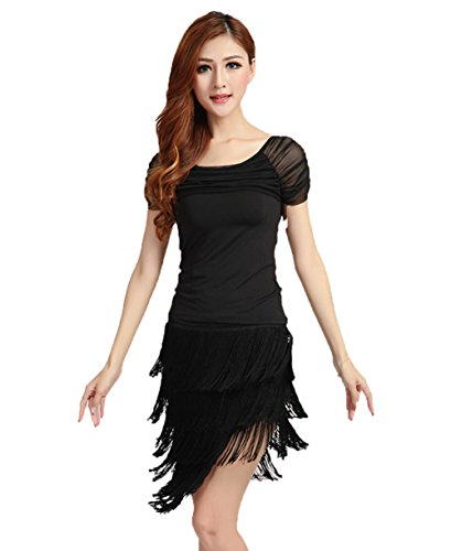 Ballroom Swing Dance Costumes (NAKOKOU Womens Latin Dance Tassel Dress Ballroom Salsa Samba Rumba Tango Swing Rhythm Costume(Black,XL))