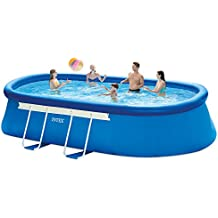 Intex 18ft X 10ft X 42in Oval Frame Pool Set with Filter Pump, Ladder, Ground Cloth & Pool Cover