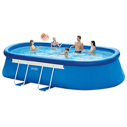 Large Swimming Pool (Intex 18ft X 10ft X 42in Oval Frame Pool Set with Filter Pump, Ladder, Ground Cloth & Pool Cover)