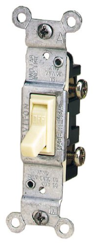 Leviton 1451-ICP 15-Amp, 120-Volt, Toggle Framed Single-Pole AC Quiet Switch, Residential Grade, Non-Grounding, Ivory