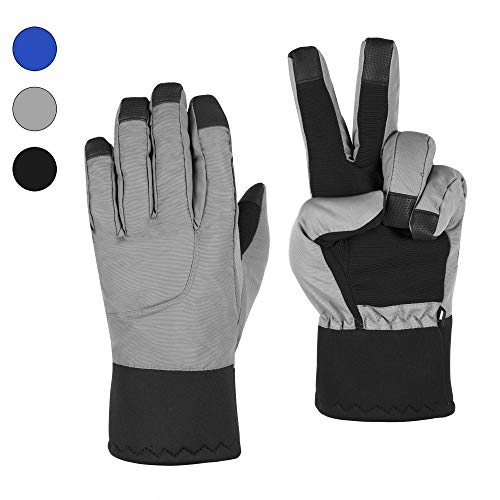 (CORJENT Men's Fleece Lined Winter Snow Gloves, Thermal and Insulated, Touchscreen Capable (Gray, L -)