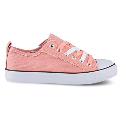 Twisted Womens Lo Edge Sneakers Frayed Womens Salmon Top KIX Twisted 7pdO7qwH