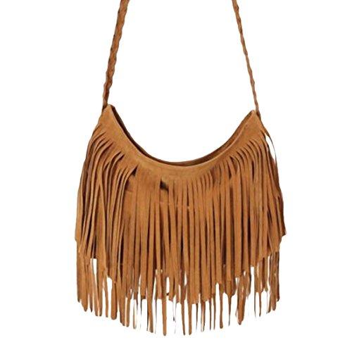 2015 Best Selling Fashion Tassel Suede Fringe Single Shoulder Handbag for Girls and Women (Coffee)